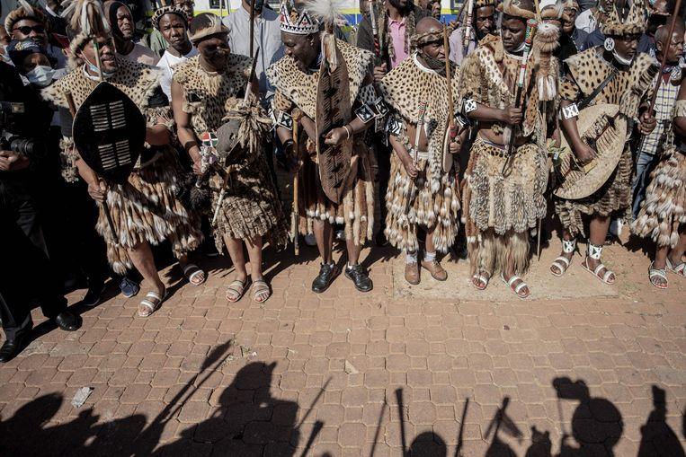 Rouw tijden de begrafenis van koningin Mantfombi. Beeld AFP
