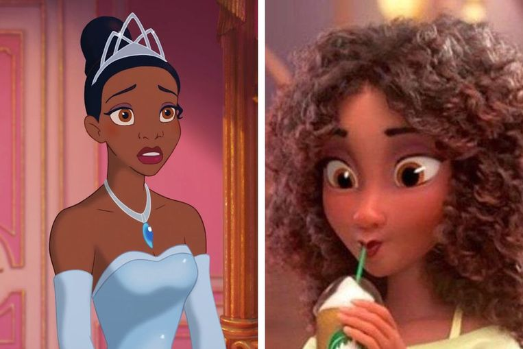 Tiana maakte haar opwachting in 2009 (links), maar ziet er in de trailers van de nieuwe film helemaal anders uit. Beeld Disney