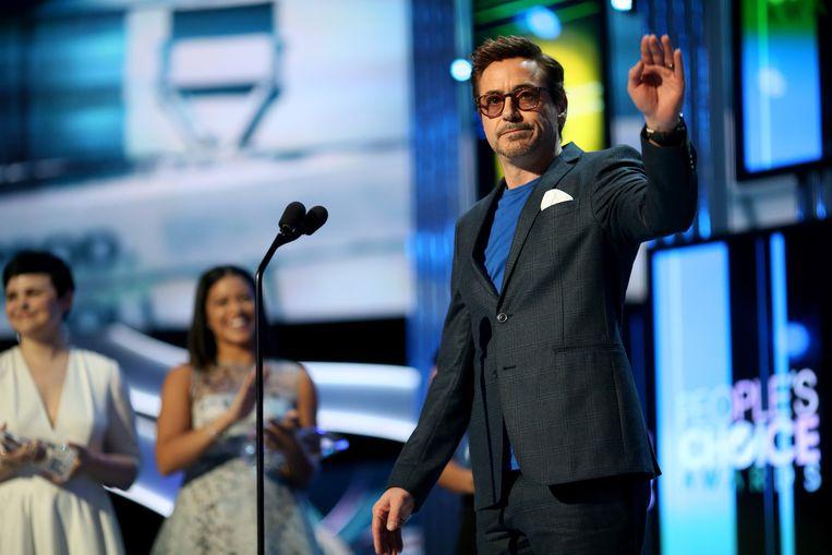 Robert Downey Jr. tijdens de uitreiking van de People's Choice Awards. Beeld Getty