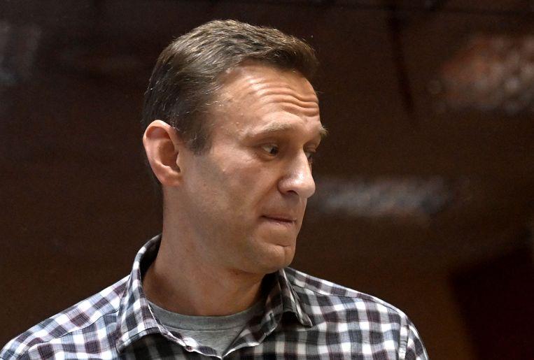 Aleksej Navalni tijdens z'n proces. Beeld AFP