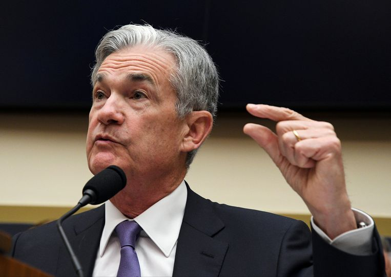 Jerome Powell, de voorzitter van de Federal Reserve, lijkt aan te tonen dat het verschil tussen de korte en de langetermijnrente miniem is.  Beeld Reuters