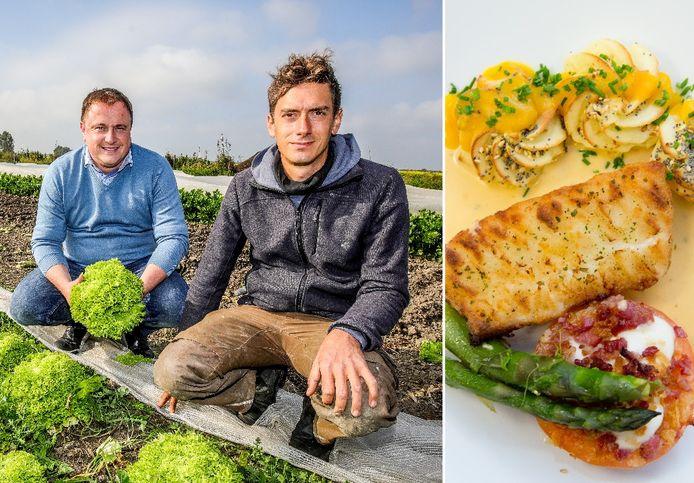 Chef Pieter De Smet en bioboer Lieven Devreese op de akker van ziekenhuis AZ Zeno / maaltijd AZ Zeno