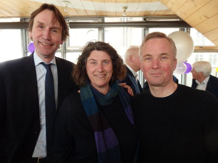 Herbert Raat, wethouder in Amstelveen, Irene Hemelaar (Heavenly Creature) en oud-wethouder Eric van der Burg. Beeld Hans van der Beek