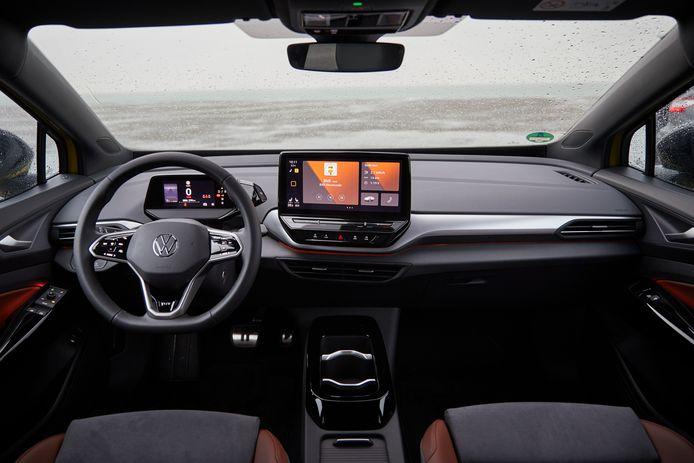 Het dashboard van de Volkswagen ID.4, dit is het grote aanraakscherm met een diameter van 12 inch