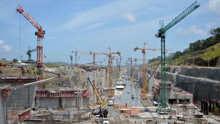 De werken aan het Panamakanaal in augustus vorig jaar.