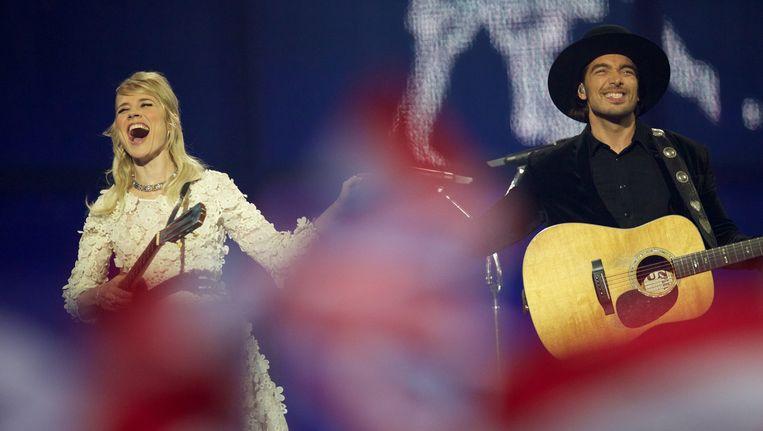 Ilse DeLange en Waylon bij het Songfestival. Beeld getty