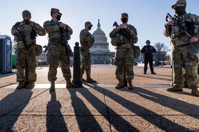 Extra beveiliging rond het Capitool in Washington.