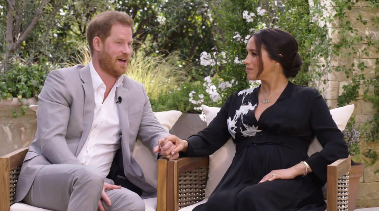 Harry en Meghan tijdens hun interview met Oprah Winfrey