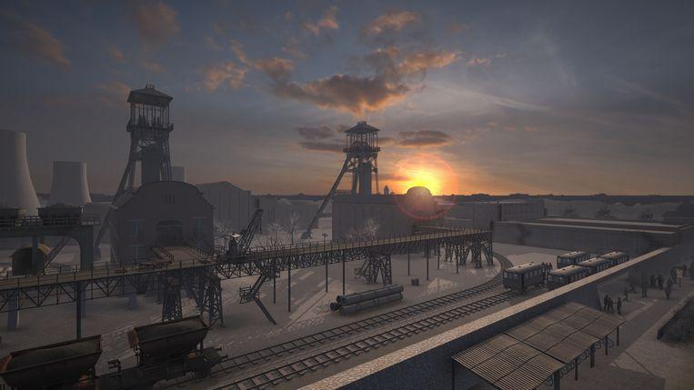 Een panoramisch beeld van de mijnsite in de jaren 50.