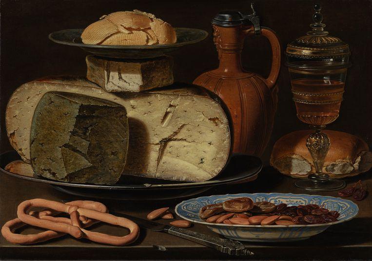 Stilleven met kazen, amandelen en krakelingen (ca. 1615) van Clara Peeters. Beeld rv