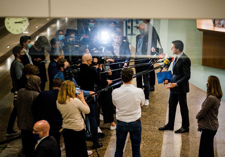 Mark Rutte (VVD) in de Tweede Kamer na afloop van het debat over de mislukte formatieverkenning. Beeld ANP