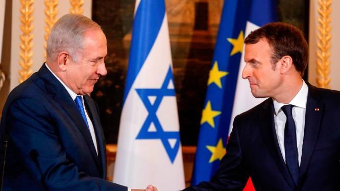 """Macron roept Netanyahu op tot """"moedig gebaar"""" naar Palestijnen"""