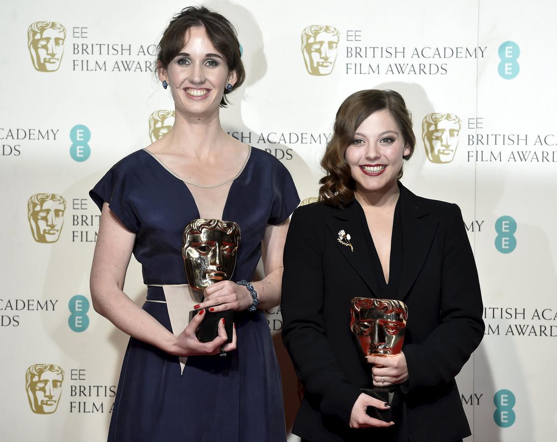 Emilie Jouffroy (producer) en Nina Gantz na het winnen van hun Bafta's