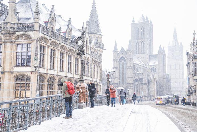 Sneeuw in Gent-centrum.