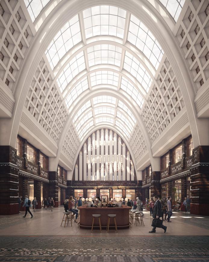Impressie van de centrale hal in het opgefriste postkantoor.