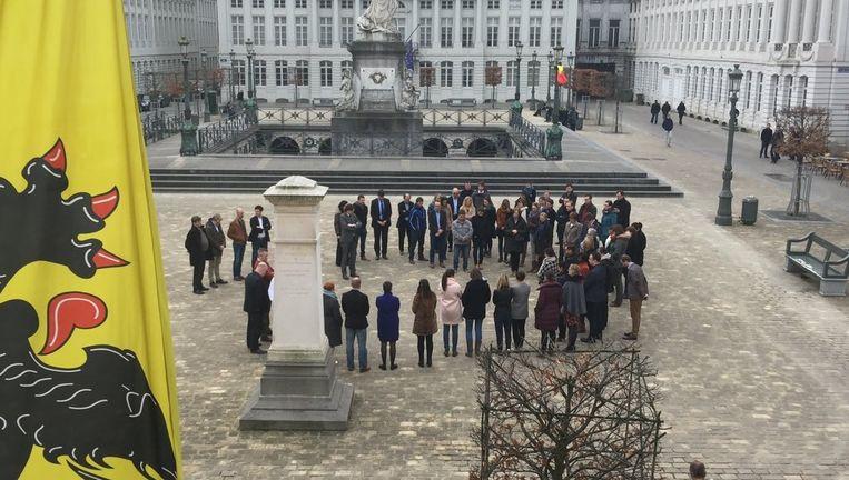 De herdenking van de Vlaamse regering gebeurde in kleine kring. Beeld rv