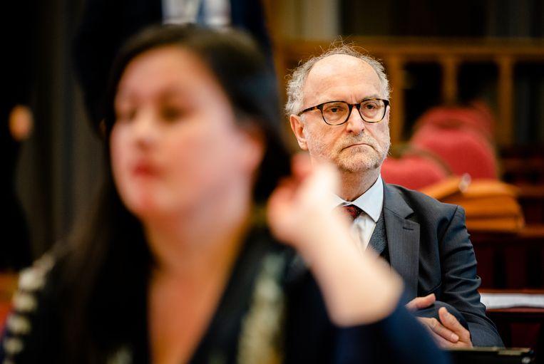 Annabel Nanninga (FVD) en Paul Cliteur (FVD) tijdens de eerste plenaire vergadering in de Ridderzaal.   Beeld Hollandse Hoogte /  ANP
