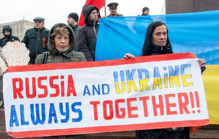 Betogers in de Oost-Oekraïense stad Charkov. Beeld AFP