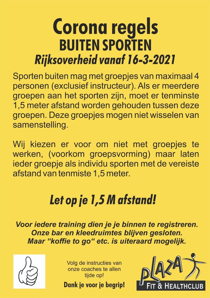 Pamflet Plaza Fit & Health Club in Oldenzaal.