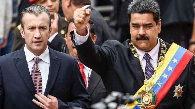 Venezolaans president Nicolas Maduro (rechts) en vicepresident Tareck el Aissami. Beeld AFP