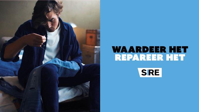 Een beeld uit de SIRE-campagne. De meeste spullen zijn niet zo makkelijk te repareren als een kapotte spijkerbroek.