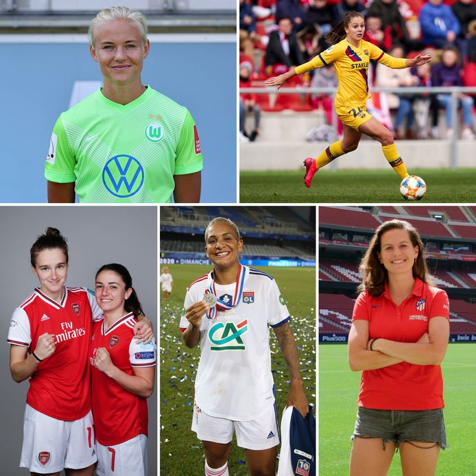 Met de klok mee: Pernille Harder, Lieke Martens, Merel van Dongen, Shanice van de Sanden, Daniëlle van de Donk en Vivianne Miedema