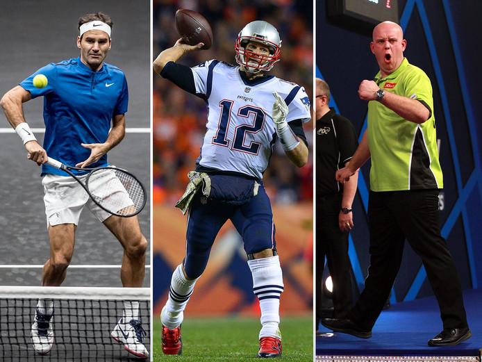 Vlnr: Roger Federer, Tom Brady en Michael van Gerwen.