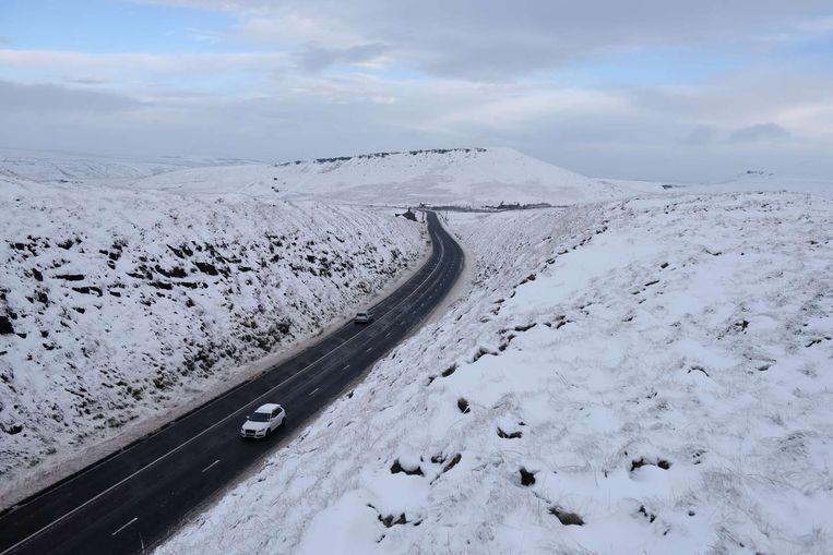 Een met sneeuw bedekt landschap in het noorden van Engeland. Beeld afp