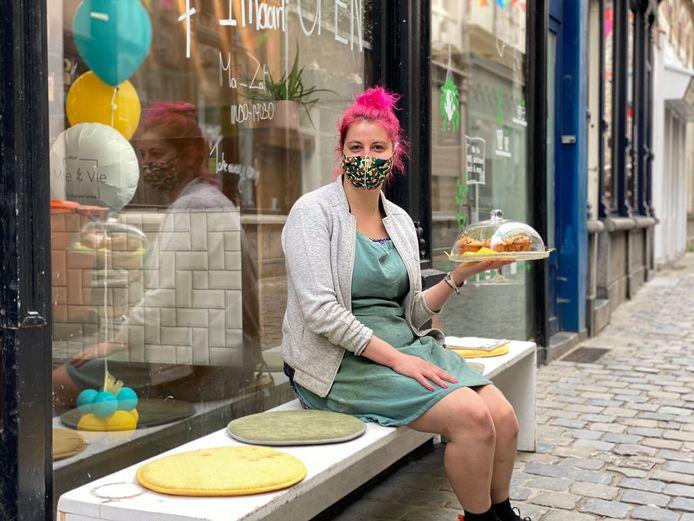 Rebecca Sinnaeve voor Mie Vie in de Serpentstraat.