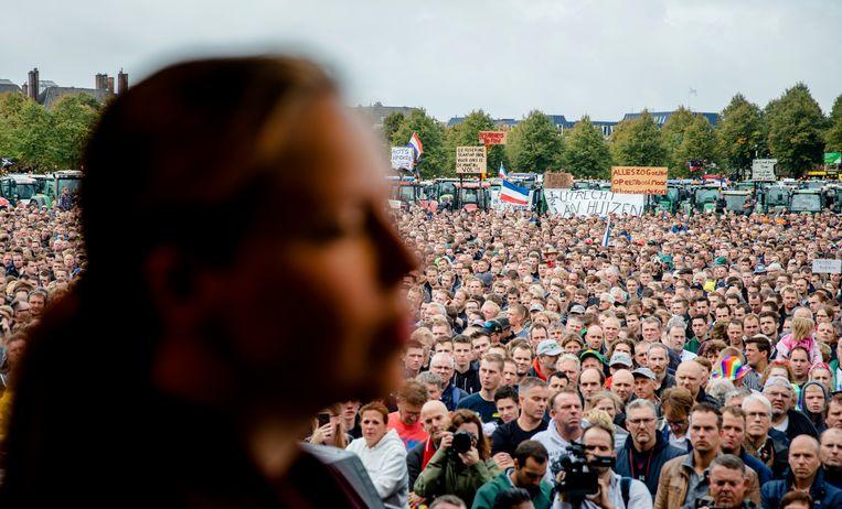 Minister Carola Schouten op het Malieveld tijdens het boerenprotest. Beeld ANP