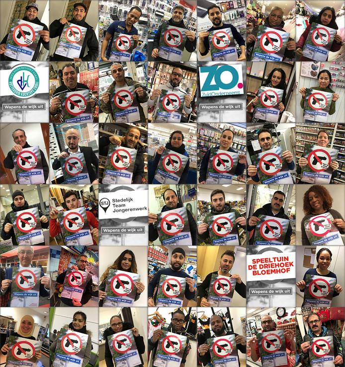 Tientallen Rotterdammers en Rotterdamse organisaties maken een statement door op de foto te gaan met de poster van Wapens de wijk uit.