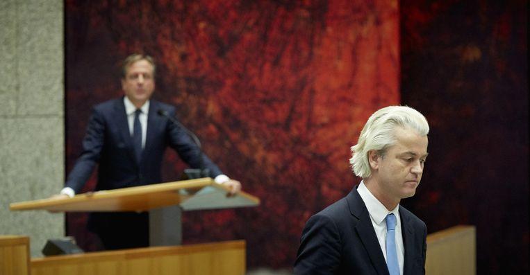 Geert Wilders (R) en Alexander Pechtold tijdens een debat in de Tweede Kamer Beeld anp