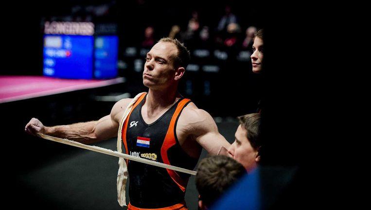 Yuri van Gelder voor zijn oefening op de ringen. Beeld ANP