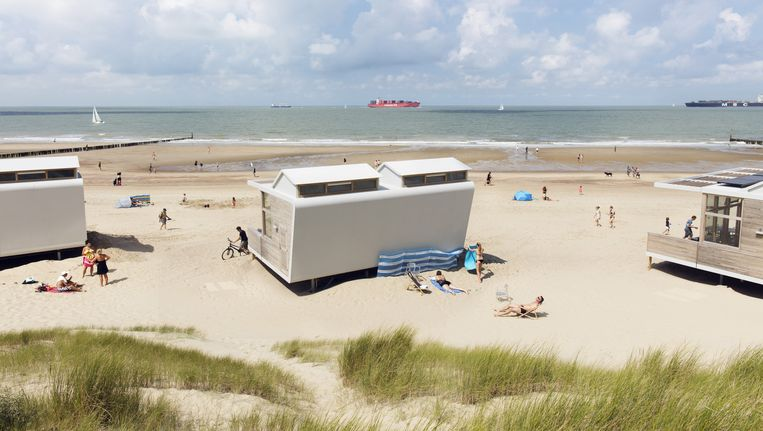 De door MVSA ontworpen strandhuisjes bij Cadzand Bad. Beeld Lars van den Brink