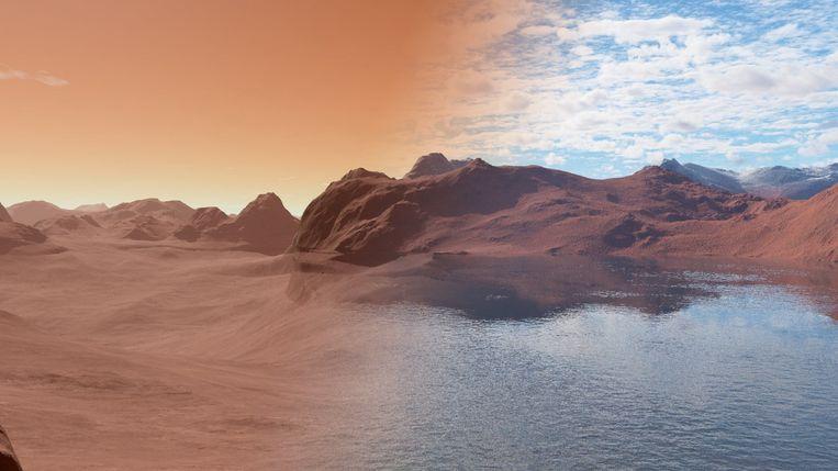 Impressie van de planeet Mars mét en zónder oceanen. Beeld rv