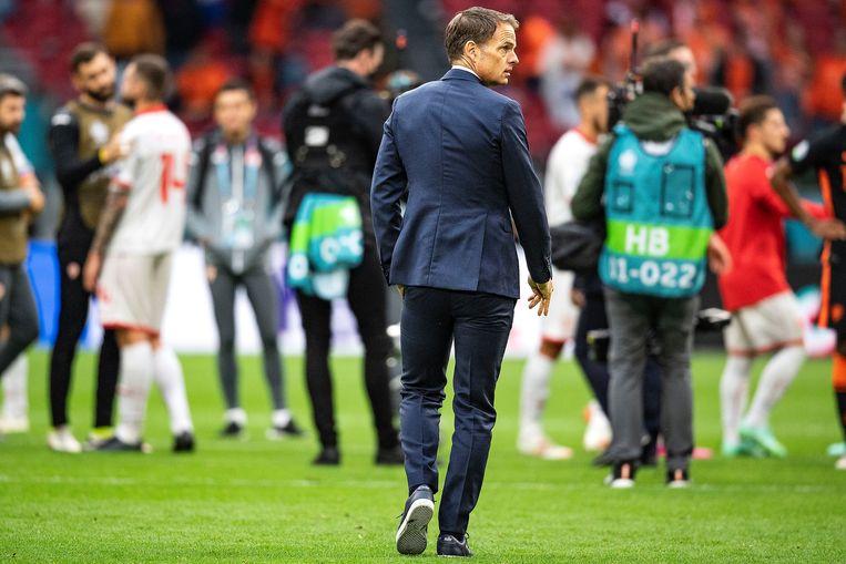 Frank de Boer na de wedstrijd tegen Noord-Macedonië, die Oranje met 3-0 won, Amsterdam, 21 juni 2021.  Beeld Foto Guus Dubbelman / de Volkskrant
