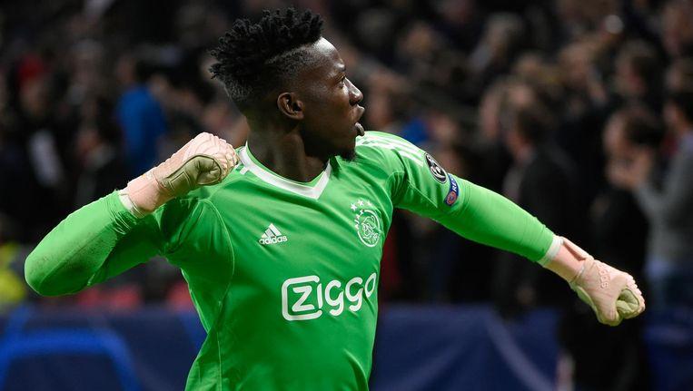 André Onana verdedigt gewoon het doel van Ajax in het thuisduel met Feyenoord. Beeld anp
