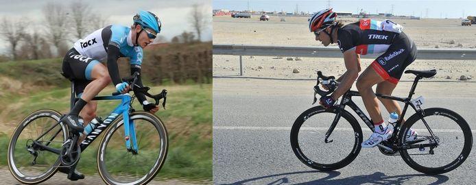 Eloy Raas (links) pakte eens een KOMaf van Fabian Cancellara (rechts).