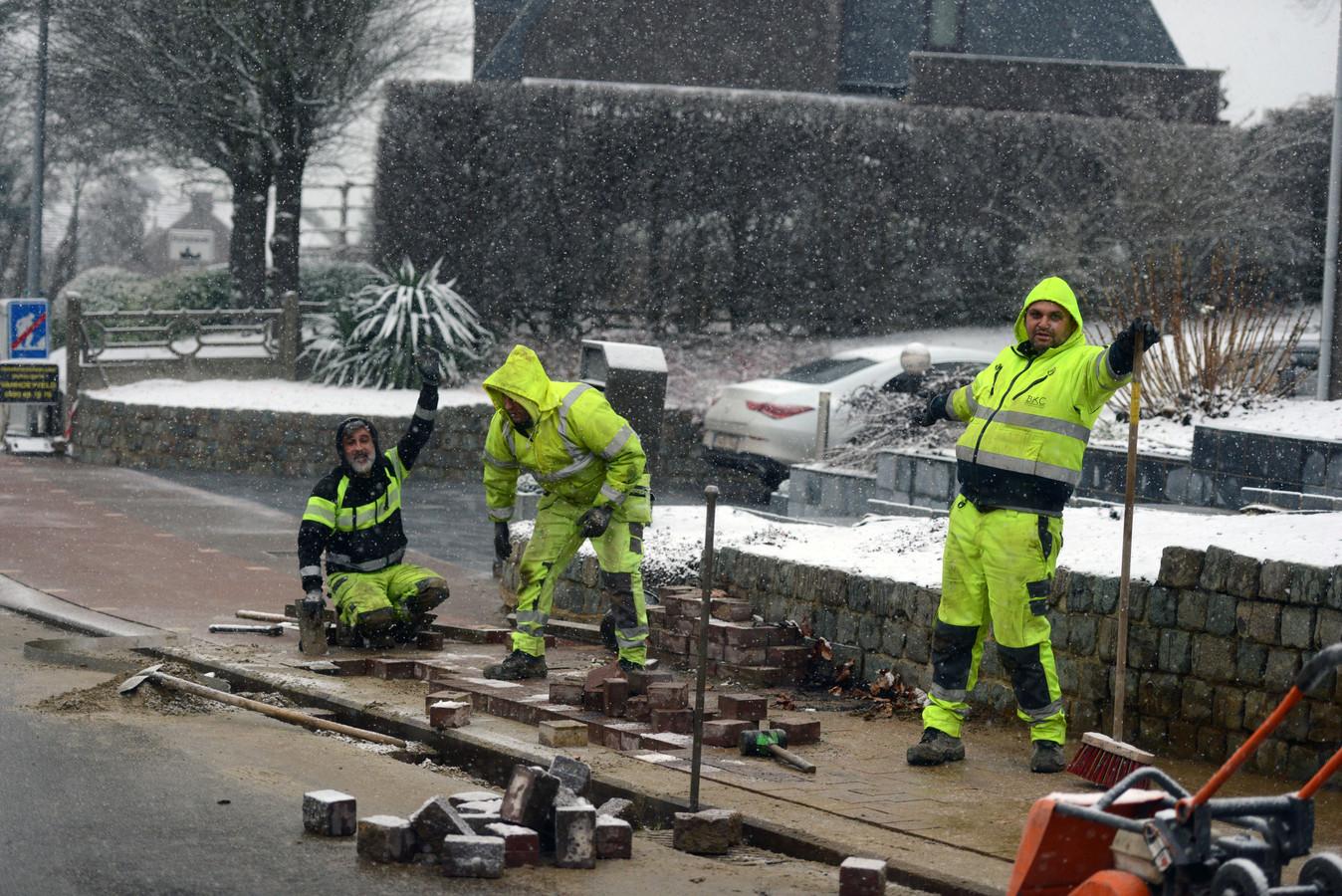 Sneeuw in regio Leuven: maar het werk moet ook gebeuren.