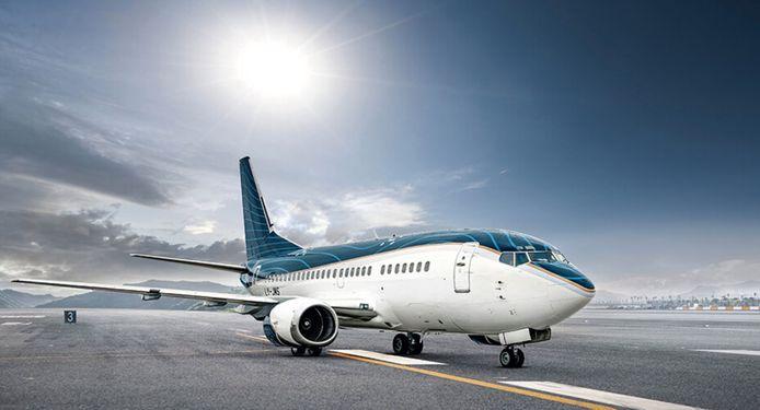 De luxueuze Boeing 737 van KlasJet waarmee de Duivels de hele EK-campagne zullen vliegen.