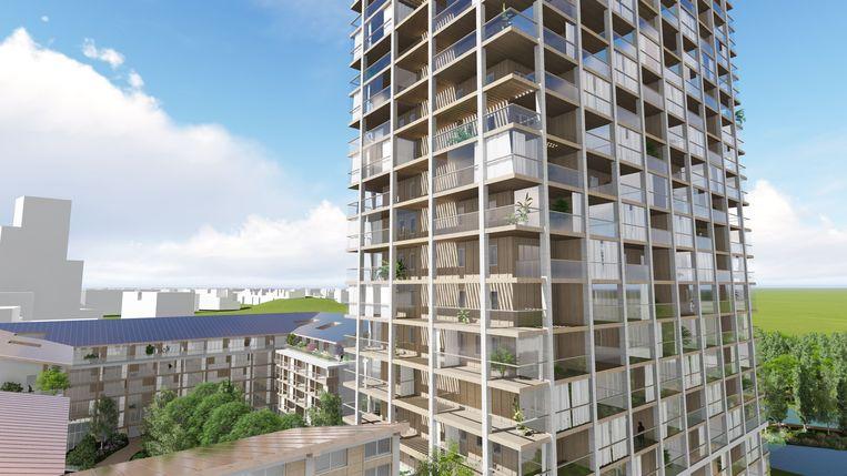Ontwerp van de Japanse architect Shigeru Ban voor een hybride toren in Nieuw-Zuid, Antwerpen. Beeld RV