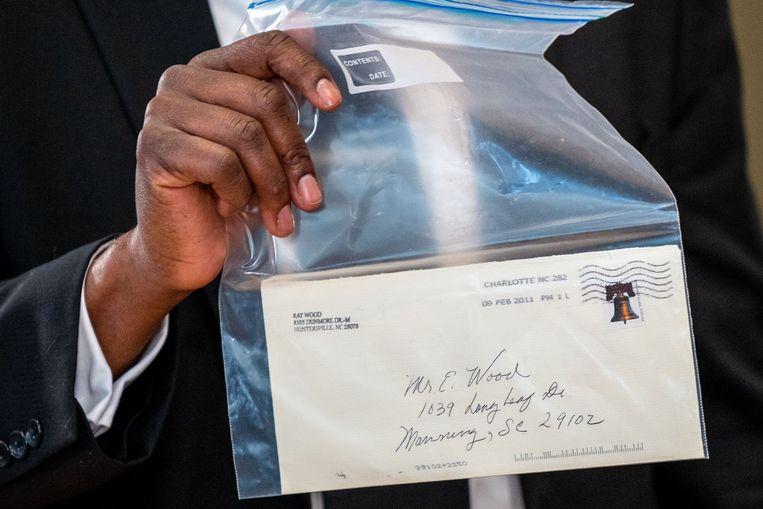 De brief van de zwarte undercoveragent Ray Wood. Beeld AFP