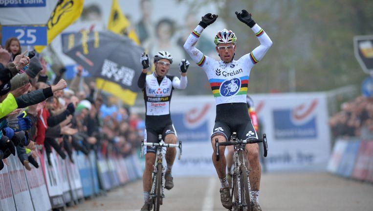 Sven Nys bij zijn triomf van vorig jaar in Hasselt. Beeld BELGA