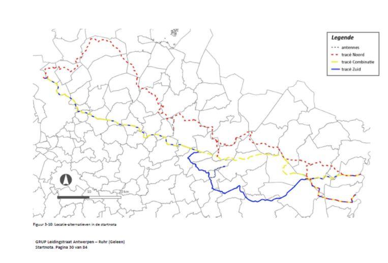 Er liggen drie tracés op tafel. Via één van die drie zal een pijpleiding het Duitse Rurhgebied verbinden met de haven van Antwerpen. Beeld Departement Omgeving