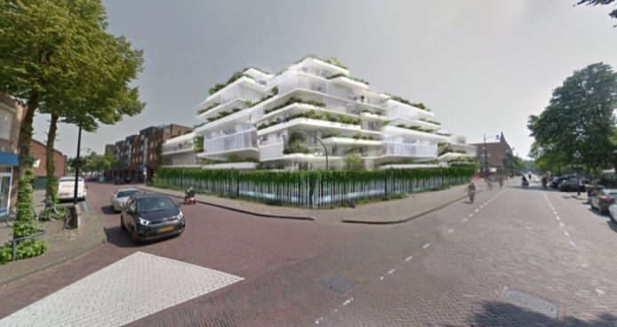 Hoek Tilburgseweg en Kalverstraat. Plan appartementen van Karel J.A.M. Want
