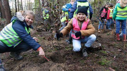 Leerlingen Ter Veste planten kloempen aan