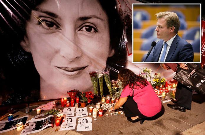 De vermoorde journaliste Daphne Caruana Galizia, haar dood was aanleiding voor het onderzoek. (inzet Pieter Omtzigt)