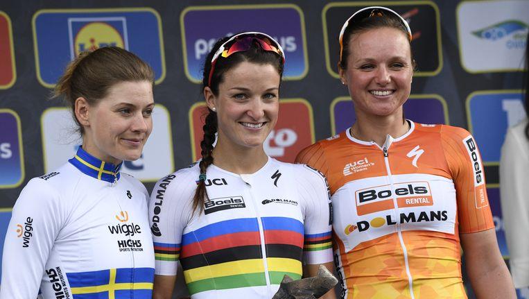 Het podium van vorig jaar: Emma Johansson, Elizabeth Armitstead en Chantal Blaak. Beeld BELGA