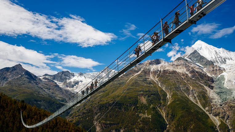 De langste hangbrug hangt 80 meter boven de grond, is 494 meter lang en 85 centimeter breed.