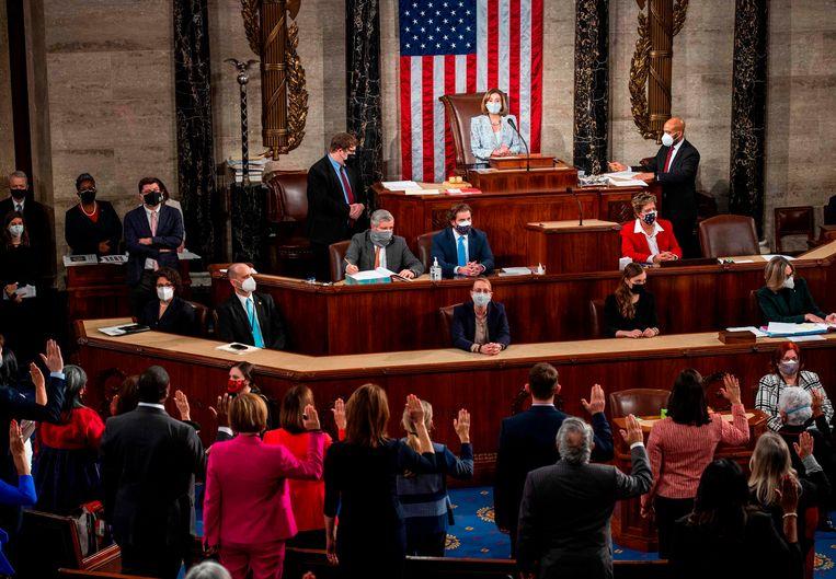 Nancy Pelosi is zondag herkozen als voorzitter van het Huis van Afgevaardigden in de VS. Beeld AFP